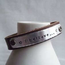 "Lovely Handmade Personalised ""I believe..."" Leather Statement Cuff Bangle"